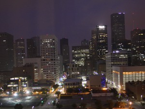 Houston Downtown Skyline with the lights on